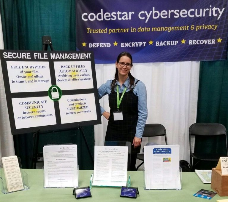 Consultant in cyber-security booth at conference